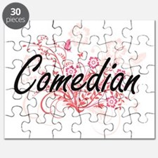 Comedian Artistic Job Design with Flowers Puzzle