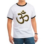 Golden Ohm & Buddha Quote Ringer Tshirt
