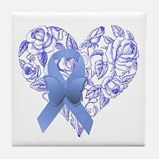 Blue awareness ribbon Tile Coaster