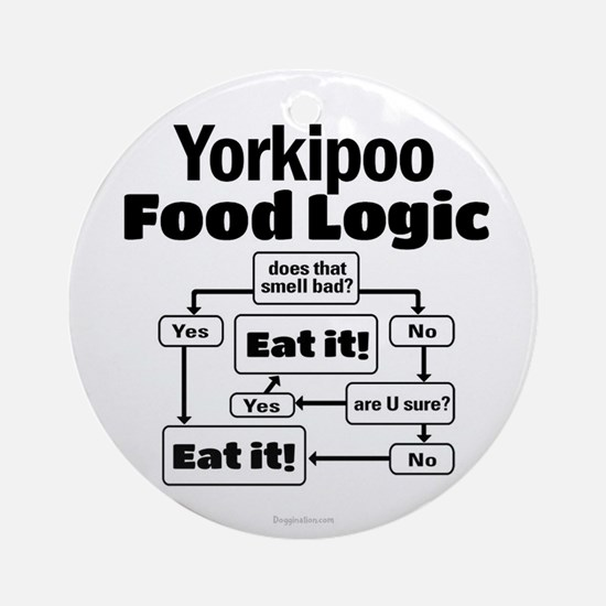 Yorkiepoo Food Round Ornament