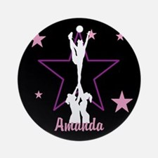 Pink And Black Cheerleader Round Ornament