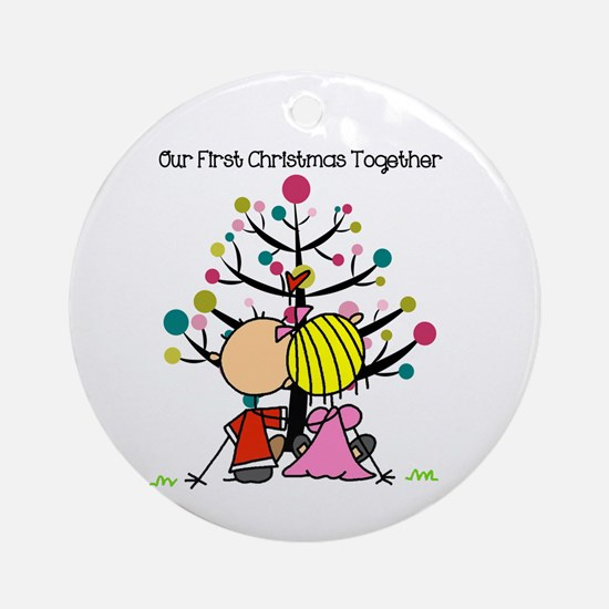 Stick Figure Couple 1st Christmas Round Ornament