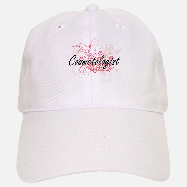 Cosmetologist Artistic Job Design with Flowers Baseball Baseball Cap