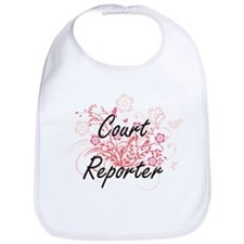 Court Reporter Artistic Job Design with Flower Bib