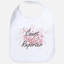 Court Reporter Artistic Job Design with Flower Bib