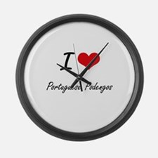 I love Portuguese Podengos Large Wall Clock
