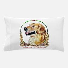 Golden Retriever Happy Holidays Pillow Case
