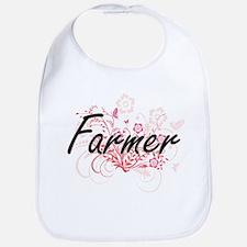 Farmer Artistic Job Design with Flowers Bib