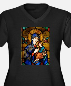 Our Lady Of Women's Plus Size V-Neck Dark T-Shirt