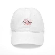 Genealogist Artistic Job Design with Flowers Baseball Cap