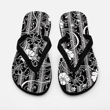 Striped Flower Black and White Design Flip Flops
