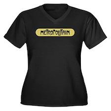 Metro Paris, Women's Plus Size V-Neck Dark T-Shirt