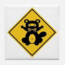 Warning Racoon 2, Japan Tile Coaster