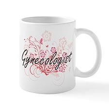 Gynecologist Artistic Job Design with Flowers Mugs