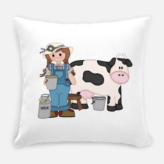 Dairy Farm Girl Everyday Pillow