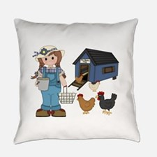 Farm Girl Chickens Everyday Pillow