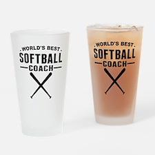 Worlds Best Softball Coach Drinking Glass