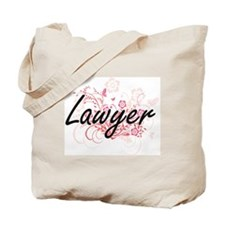 Lawyer Artistic Job Design with Flowers Tote Bag