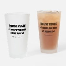 HOUSE RULES (black) Drinking Glass