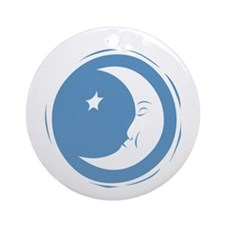 Crescent Moon and Star Ornament (Round)