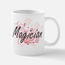 Magician Artistic Job Design with Flowers Mugs
