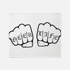 Geek life fists Throw Blanket