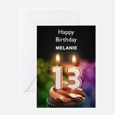 13th Birthday, Add A Name Cupcake Greeting Cards
