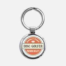 disc golfer vintage logo Round Keychain