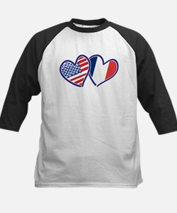 USA France Love Hearts Baseball Jersey