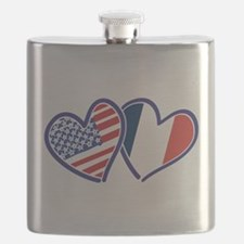 USA France Love Hearts Flask