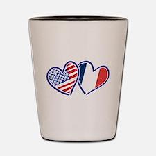 USA France Love Hearts Shot Glass