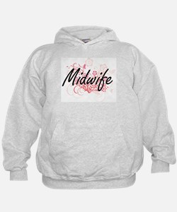 Midwife Artistic Job Design with Flowe Hoodie