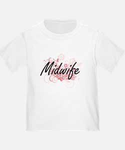 Midwife Artistic Job Design with Flowers T-Shirt