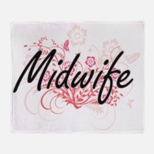 Midwife Artistic Job Design with Flo Throw Blanket
