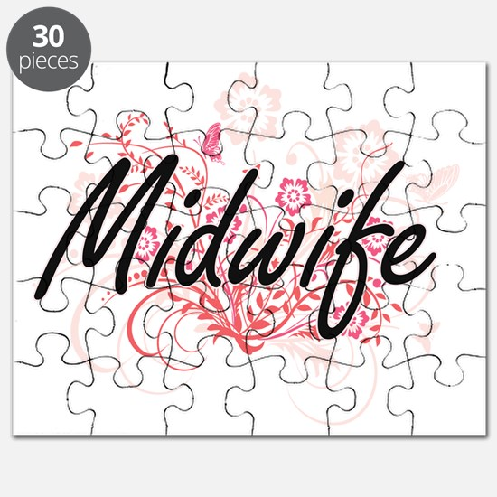 Midwife Artistic Job Design with Flowers Puzzle