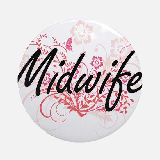 Midwife Artistic Job Design with Fl Round Ornament