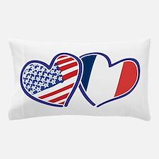 USA France Love Hearts Pillow Case