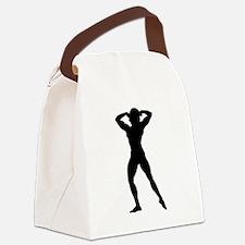 Female Bodybuilder Silhouette Canvas Lunch Bag