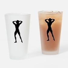 Female Bodybuilder Silhouette Drinking Glass