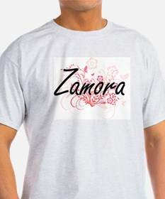 Zamora surname artistic design with Flower T-Shirt