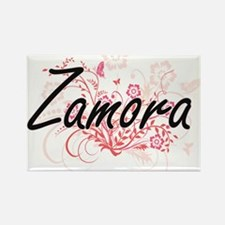 Zamora surname artistic design with Flower Magnets