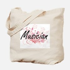 Musician Artistic Job Design with Flowers Tote Bag