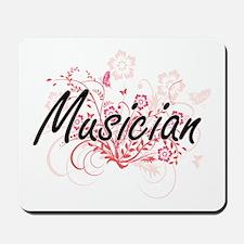 Musician Artistic Job Design with Flower Mousepad