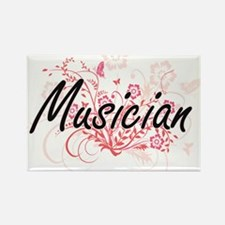 Musician Artistic Job Design with Flowers Magnets