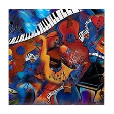 Piano Music Guitar Sax Musicial instr Tile Coaster