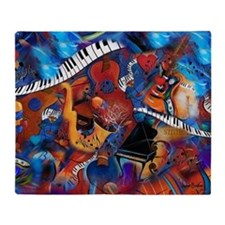 Piano Music Guitar Sax Musicial inst Throw Blanket