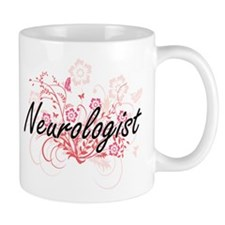 Neurologist Artistic Job Design with Flowers Mugs