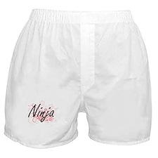 Ninja Artistic Job Design with Flower Boxer Shorts