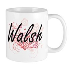 Walsh surname artistic design with Flowers Mugs