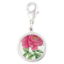 Pink Peony Watercolor Sketch Charms
